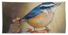 Red-breasted Nuthatch Bird Beach Towel by Janet Garcia