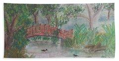 Red Bridge At Wollongong Botanical Gardens Beach Sheet by Pamela  Meredith