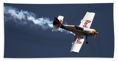 Red Bull - Aerobatic Flight Beach Towel by Ramabhadran Thirupattur
