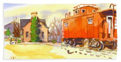 Red Caboose At Whistle Junction Ironton Missouri Beach Towel