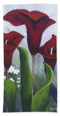 Red Calla Lilies Beach Towel
