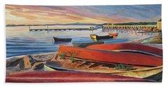 Red Canoe Sunset Beach Towel