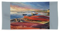 Red Canoe Sunset Beach Towel