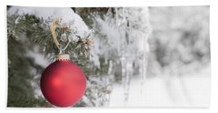 Red Christmas Ornament On Icy Tree Beach Towel