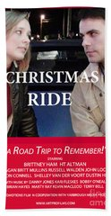 Red Christmas Ride Poster Beach Towel