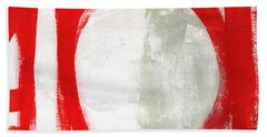 Red Circle 3- Abstract Painting Beach Towel