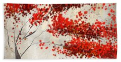 Red Divine- Autumn Impressionist Beach Towel