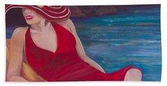 Red Dress Reclining Beach Sheet