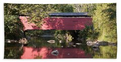 Red Fairhill Covered Bridge Two Beach Towel by Alice Gipson