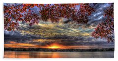 Good Bye Until Tomorrow Fall Leaves Sunset Lake Oconee Georgia Beach Towel