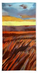Beach Towel featuring the painting Red Field by Helena Wierzbicki