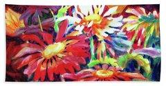 Red Floral Mishmash Beach Towel by Kathy Braud