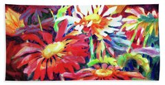 Red Floral Mishmash Beach Sheet by Kathy Braud