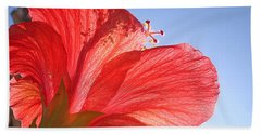 Red Flower In The Sun By Jan Marvin Studios Beach Sheet