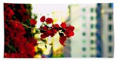 Red Flowers Downtown Beach Sheet by Matt Harang