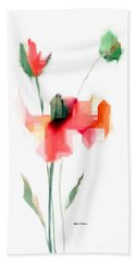 Red Flowers Beach Towel