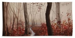 Red Forest Beach Sheet by Rachel Hames