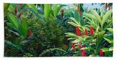 Tropical Jungle Landscape - Red Garden Hawaiian Torch Ginger Wall Art Beach Sheet