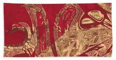 Red Geranium Abstract Beach Sheet