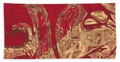 Red Geranium Abstract Beach Towel