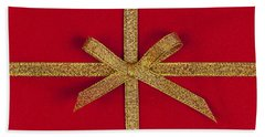 Red Gift With Gold Ribbon Beach Towel