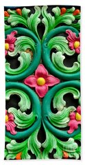 Red Green And Blue Floral Design Singapore Beach Towel