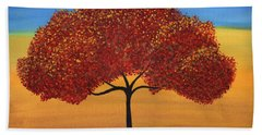 Red Happy Tree Beach Towel