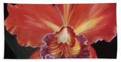 Red Hawaiian Orchid Beach Towel