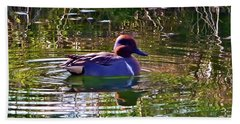 Red Headed Duck Beach Sheet by Susan Garren