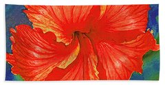 Red Hibiscus Flower Beach Towel