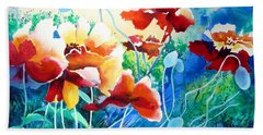 Red Hot Cool Blue Beach Towel by Kathy Braud