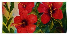 Red Hybiscus  Beach Towel