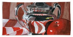 Red In Silver Beach Towel by Lynne Reichhart