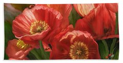 Red Ladies Of Summer Beach Towel by Carol Cavalaris