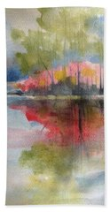 Red Lake Reflection #2 Beach Towel