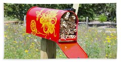 Red Mailbox Beach Sheet by Lanjee Chee