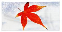 Red Maple Leaf Against White Background Beach Towel