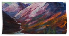 Red Mountain Surreal Mountain Lanscape Beach Towel