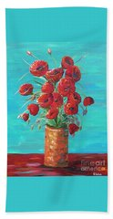 Beach Towel featuring the painting Red On My Table  by Eloise Schneider