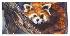 Red Panda Beach Towel by Carol Wisniewski
