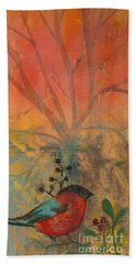 Red Peace Bird Beach Towel