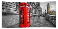 Red Phone Box And Big Ben Beach Towel