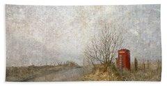Beach Towel featuring the photograph Red Phone Box by Liz  Alderdice