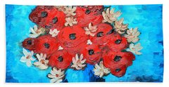 Red Poppies And White Daisies Beach Sheet by Ramona Matei