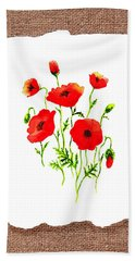 Red Poppies Decorative Collage Beach Towel