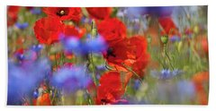 Red Poppies In The Maedow Beach Towel by Heiko Koehrer-Wagner