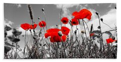 Red Poppies On Black And White Background Beach Sheet by Dany Lison