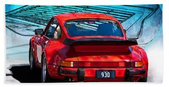Red Porsche 930 Turbo Beach Sheet