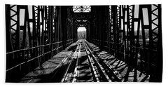 Red River Rail Road Crossing In Bw Beach Towel by Diana Mary Sharpton