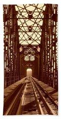 Beach Sheet featuring the photograph Red River Train Bridge #1 by Robert ONeil
